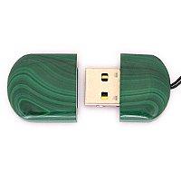 Открытая USB флешка из камня малахит: вид сверху