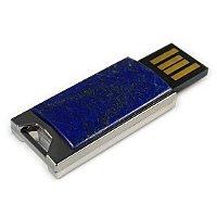 Флешка в металлическом корпусе с лазуритом: USB разъем выдвинут