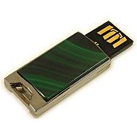Флешка в металлическом корпусе с малахитом: USB разъем выдвинут