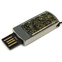 Сувенирная флешка в металлическом корпусе со змеевиком: USB разъем выдвинут