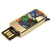 Подарочная флешка в металлическом корпусе с мозаикой: USB разъем выдвинут