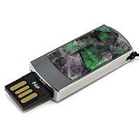 Подарочная флешка в металлическом корпусе с камнем флюорит: USB разъем выдвинут