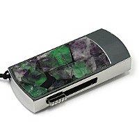 Флешка в металлическом корпусе с камнем флюорит: надежный фиксатор