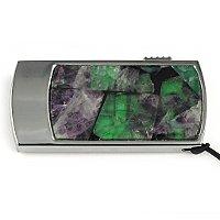 Промо-флешка в металлическом корпусе с камнем флюорит: вид сверху