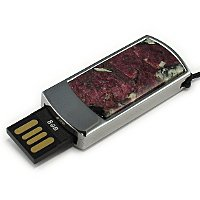 Подарочная флешка в металлическом корпусе с эвдиалитом: USB разъем выдвинут
