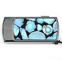 Промо-флешка в металлическом корпусе с мозаикой из бирюзы: вид сверху